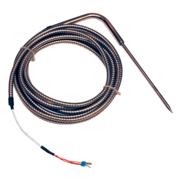 Sonda Pt100 da di penetrazione a spillo e cavo teflon/teflon protetto con flessibile inox cod. SAPC